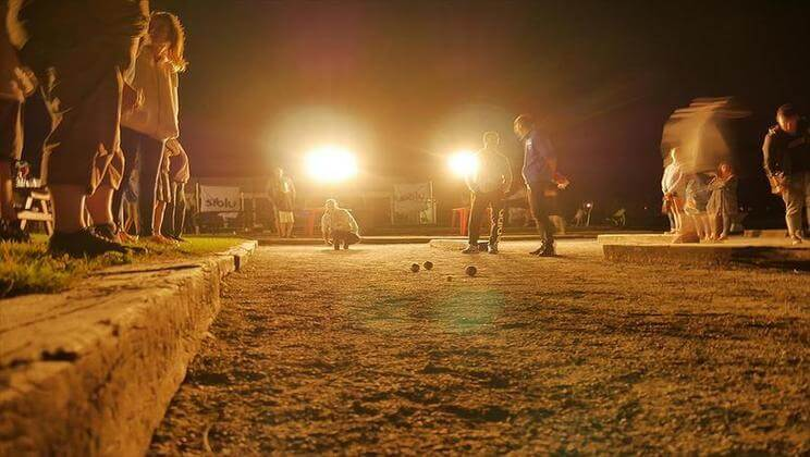 Boules at night